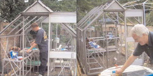 Paul and Michael working on the glass house